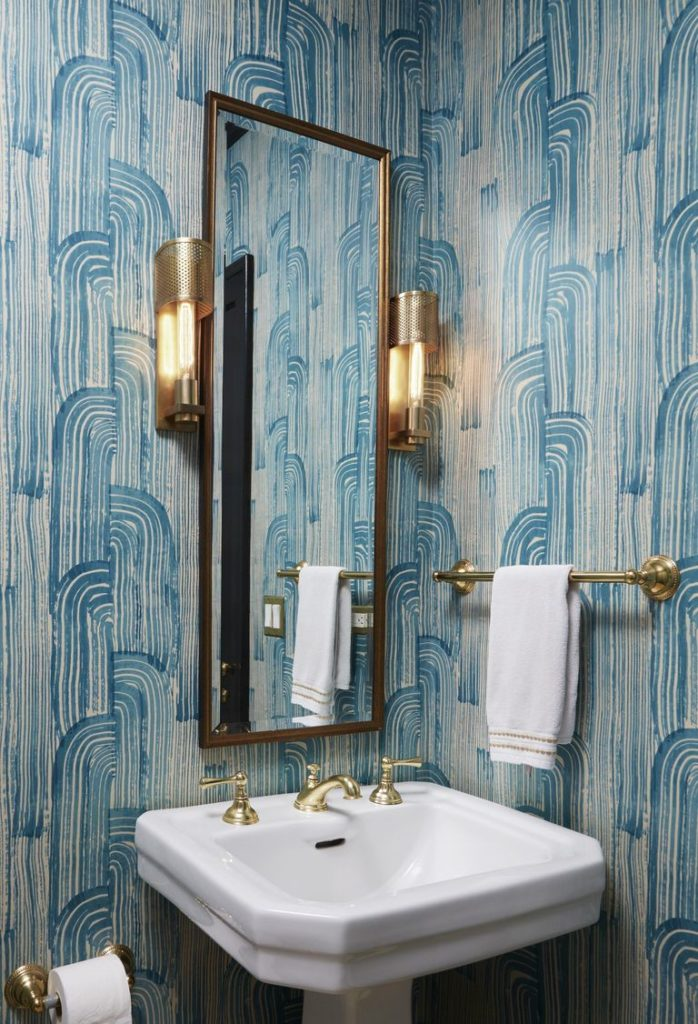 This Is A Gorgeous Modern Art Deco Inspired Powder Room The Blue Patterned Wallpaper Just Bold Enough With An Authentic Hand Painted Look