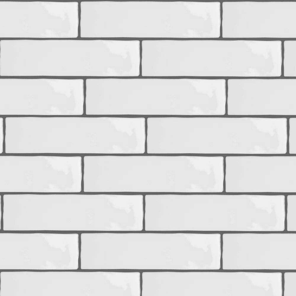 Mileto White Gloss Porcelain Wall Tile Detail1 Interior
